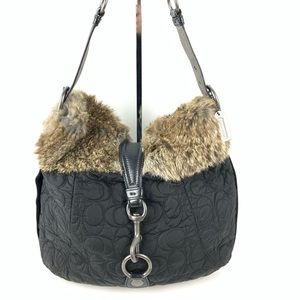 Coach soho black quilted rabbit fur handbag 6833